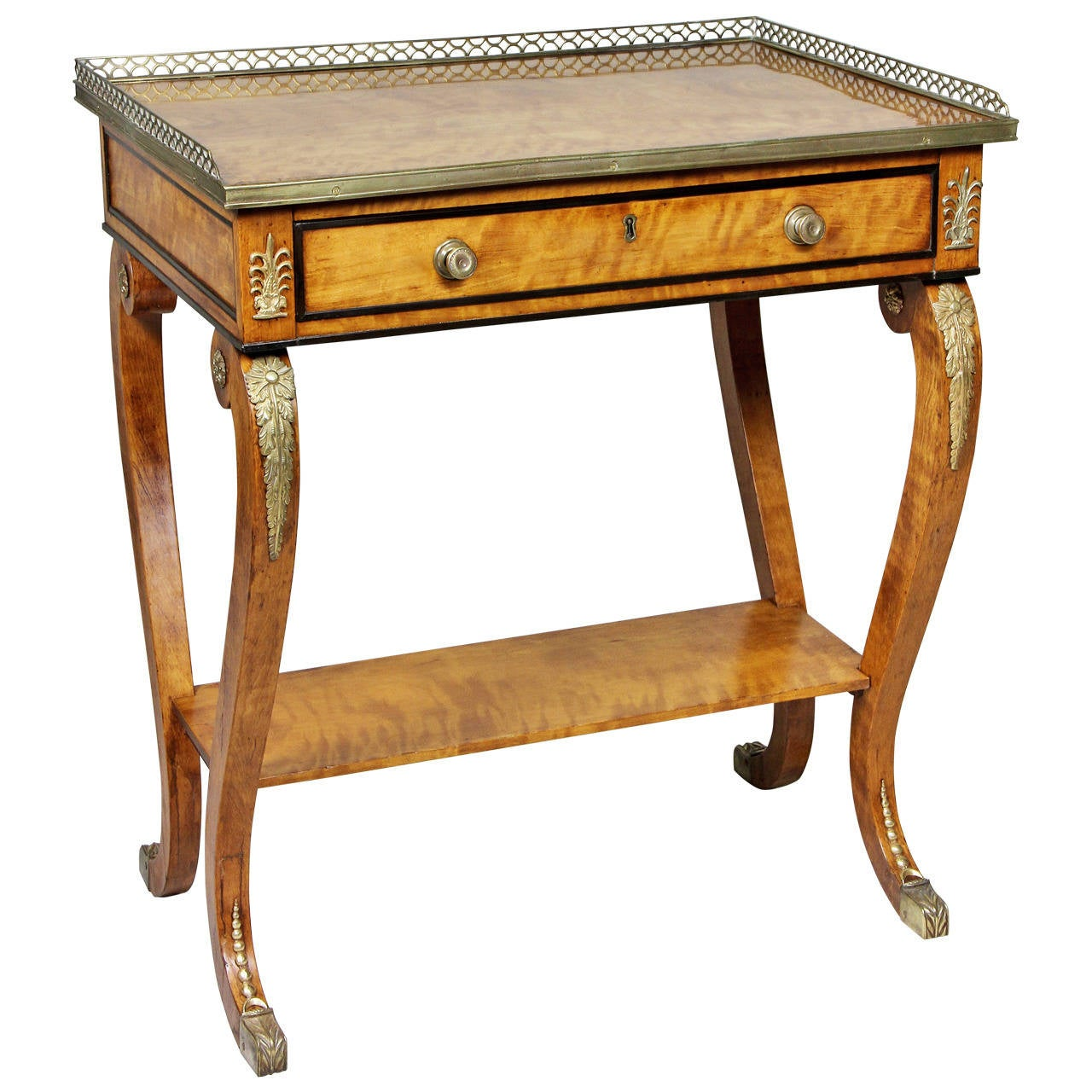 Regency satinwood and bronze mounted small writing table for sale