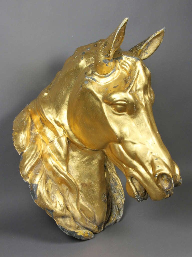Gilded Zinc Horse Head 2