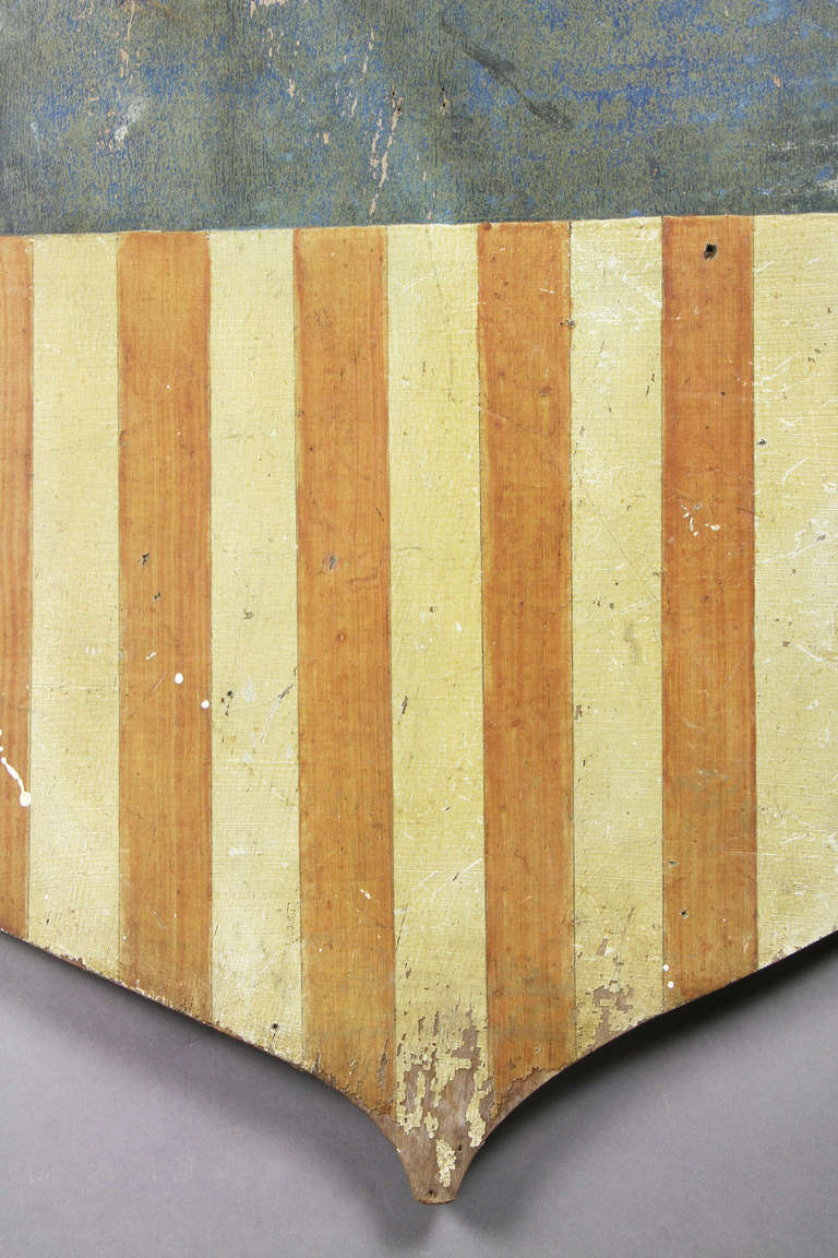 American Painted Wood Shield Form Flag For Sale at 1stdibs