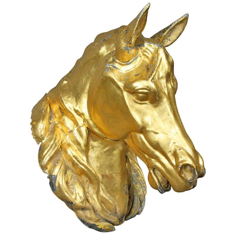 Gilded Zinc Horse Head