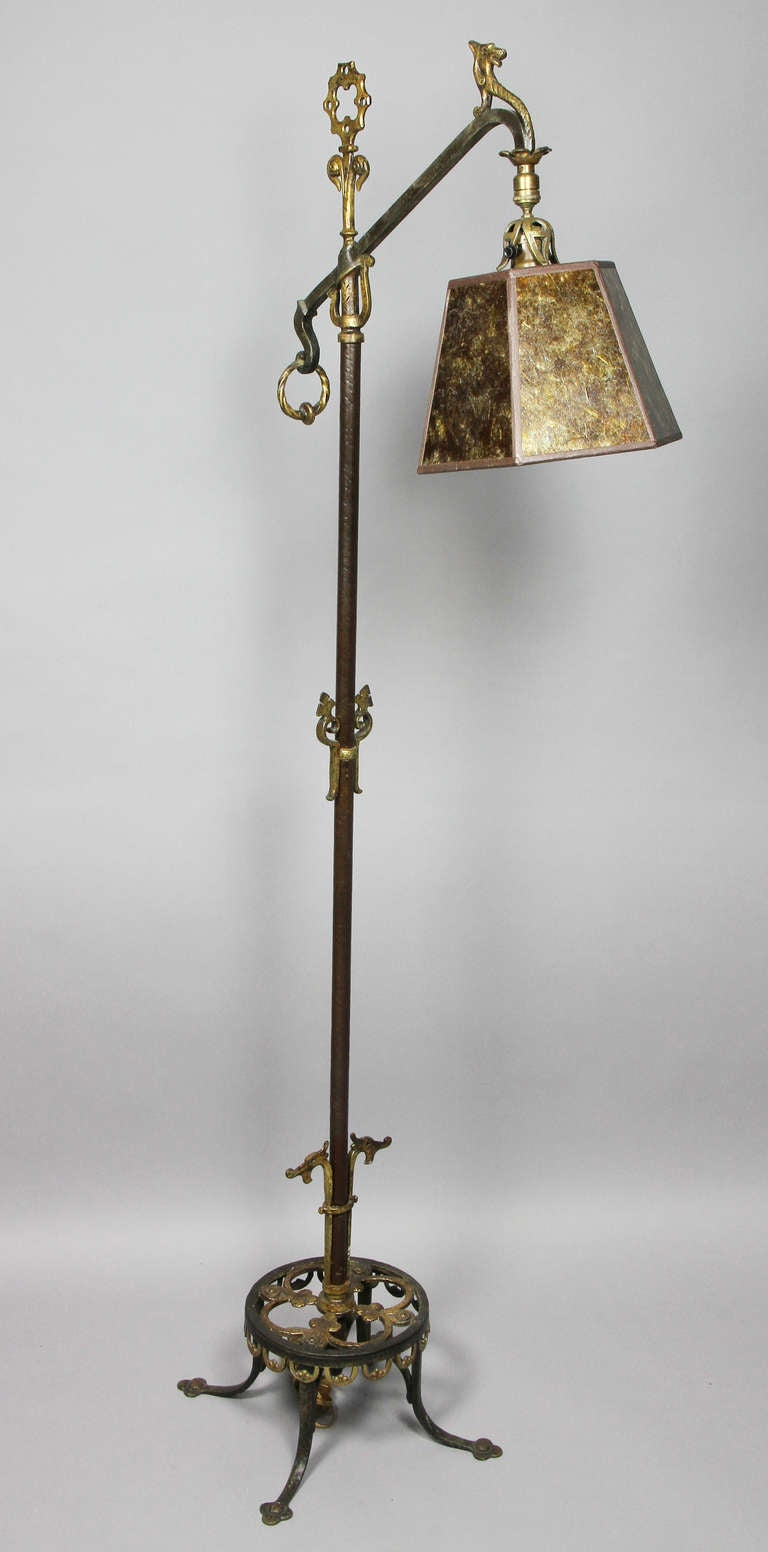 Arts and crafts cast iron and bronze floor lamp image 2 for Arts and crafts light