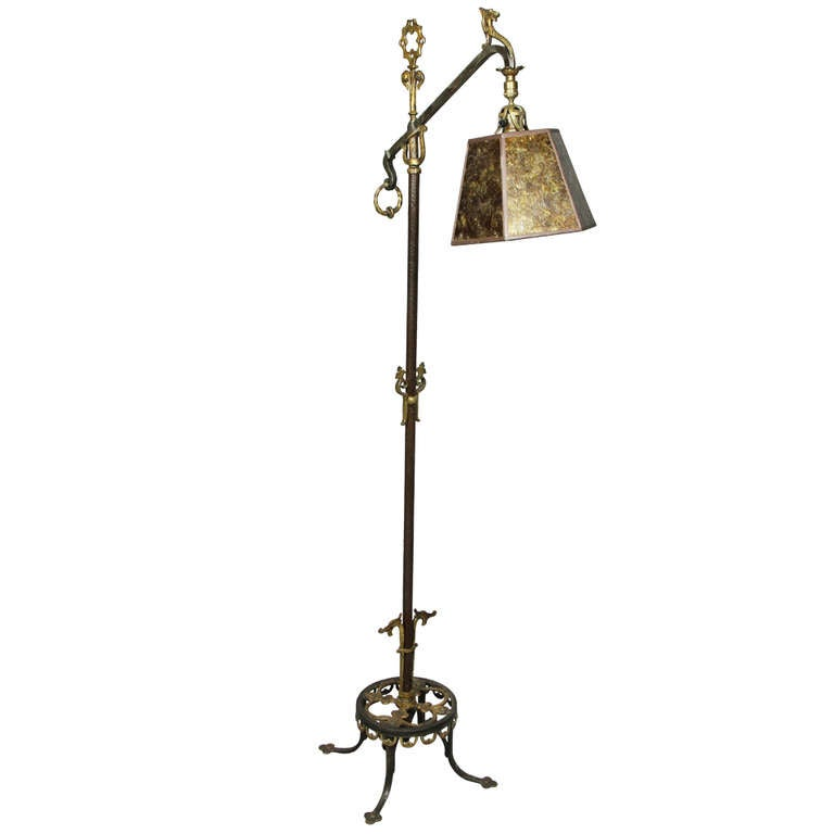 arts and crafts cast iron and bronze floor lamp at 1stdibs. Black Bedroom Furniture Sets. Home Design Ideas