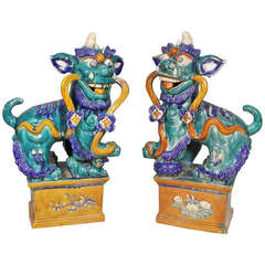 Pair of Large Chinese Ceramic Foo Dogs
