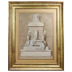 French Framed Architectural Drawing