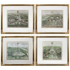 Set of Four Framed Engravings of English Country Estates