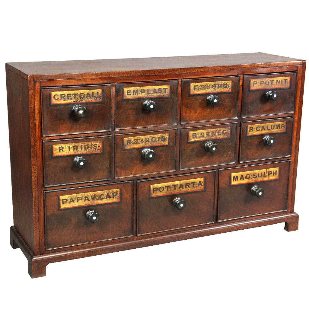 English Mahogany Apothecary Chest At 1stdibs