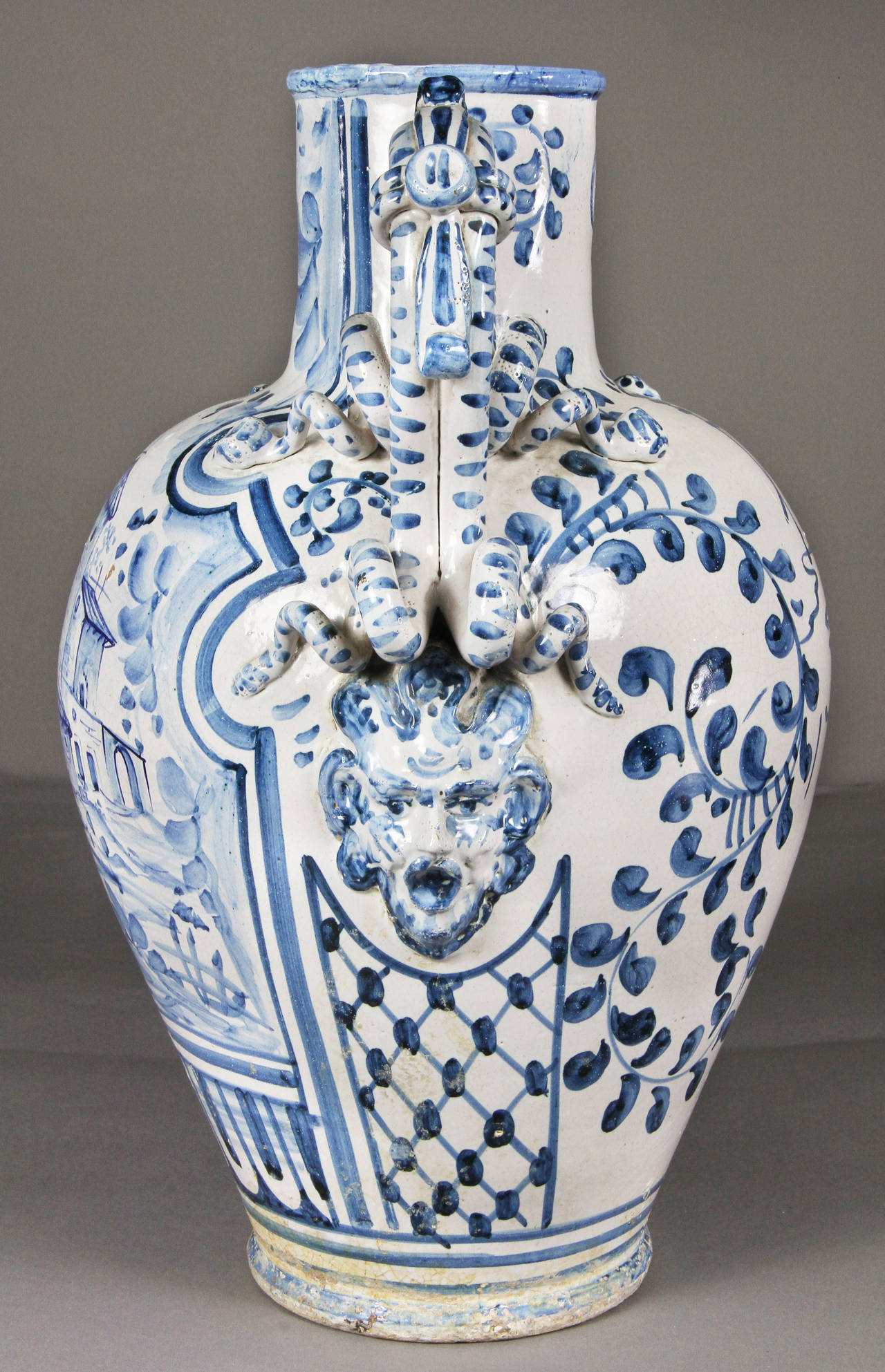 Large Italian Majolica Blue And White Vase At 1stdibs