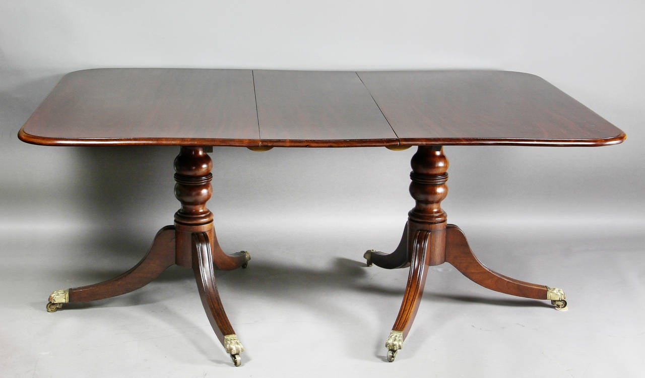 Regency mahogany two pedestal dining table at 1stdibs for Dining room table for 2