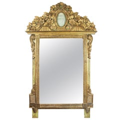 Louis XVI Giltwood And Green Painted Mirror