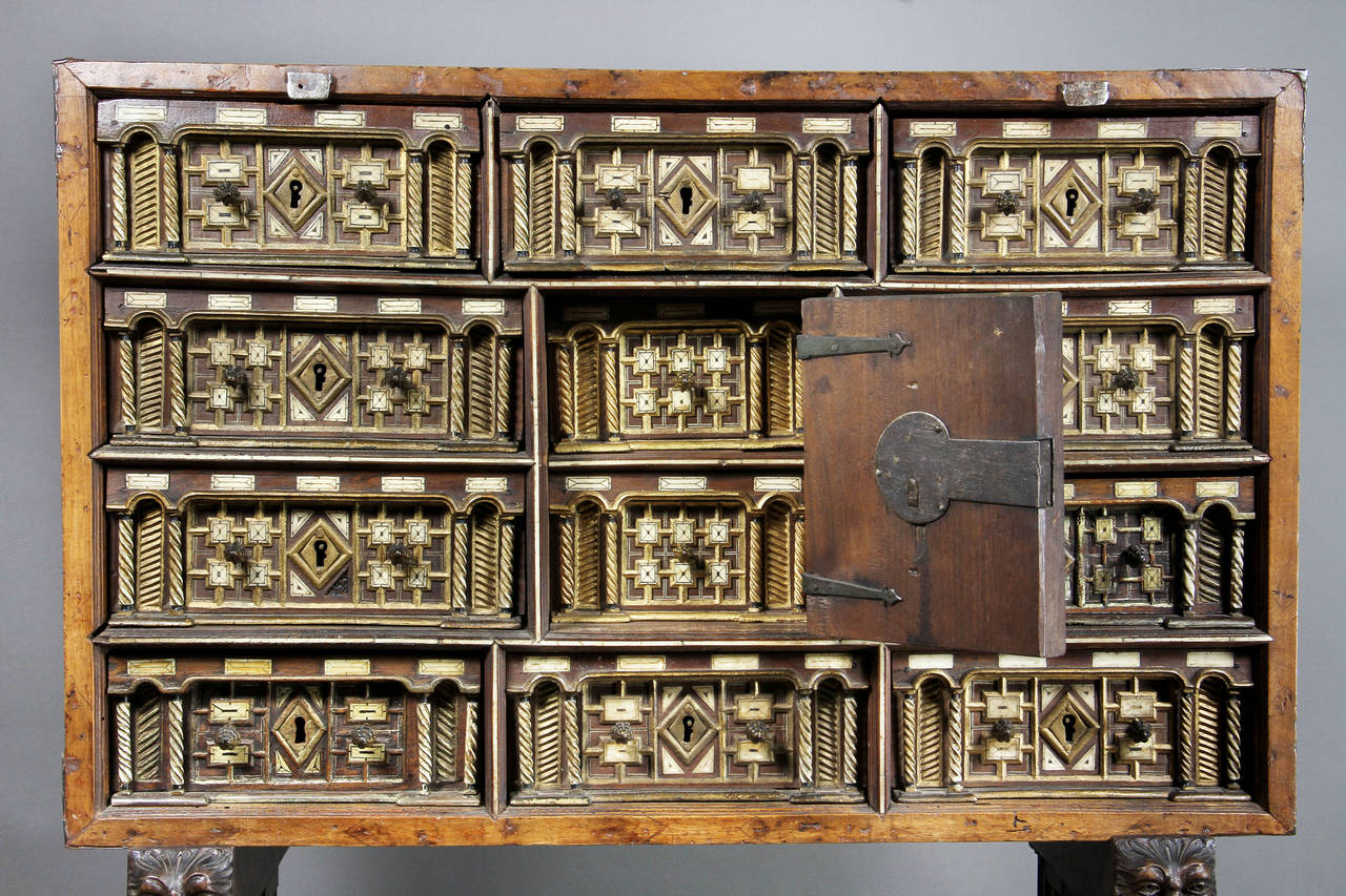 Spanish Baroque Giltwood and Bone Inlaid Vargueno In Good Condition For Sale In Essex, MA