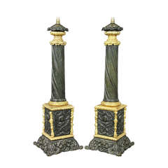 Pair of Napoleon III Bronze and Ormolu Table Lamps