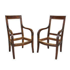 Pair Of French Provincial Empire Fruitwood Fauteuil
