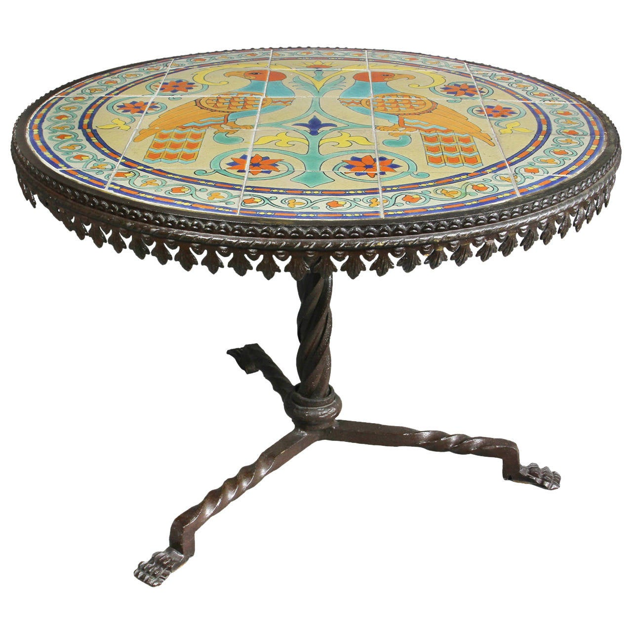 catalina island wrought iron tile top coffee table at 1stdibs