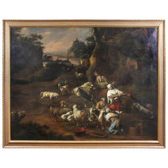 Large Flemish Oil On Canvas Attributed To Philipp Peter Roos