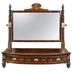 Regency Rosewood And Brass Inlaid Table Mirror