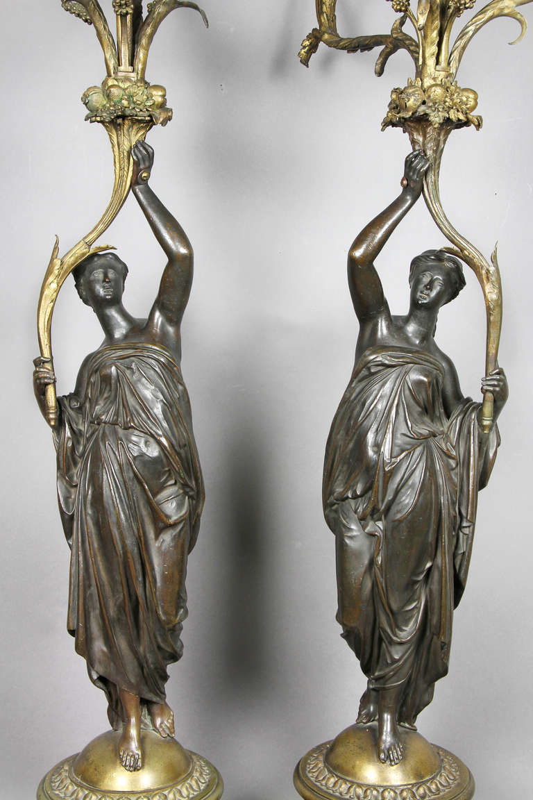 Neoclassical  Pair of Louis XVI Bronze and Ormolu Candelabra For Sale