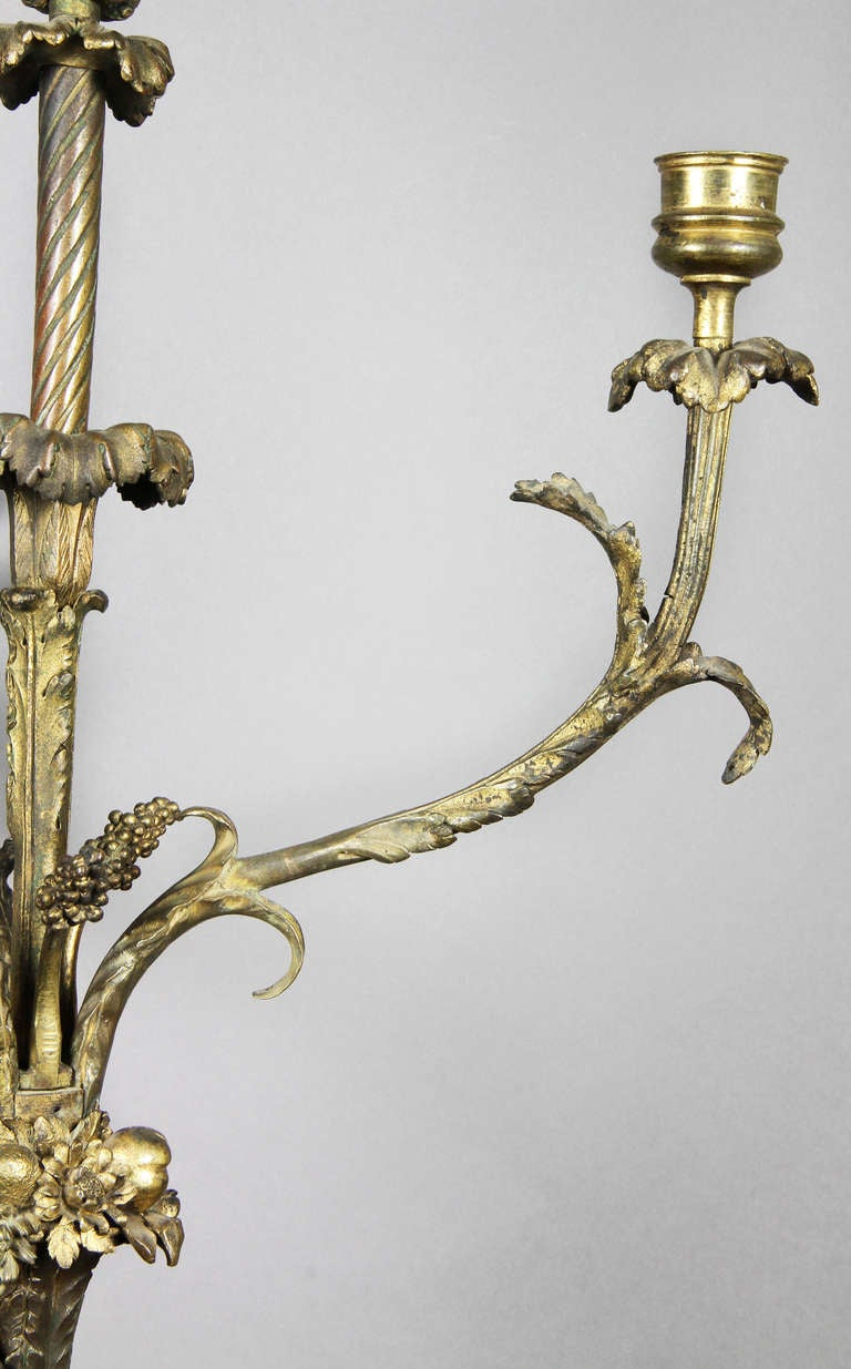 18th Century and Earlier  Pair of Louis XVI Bronze and Ormolu Candelabra For Sale