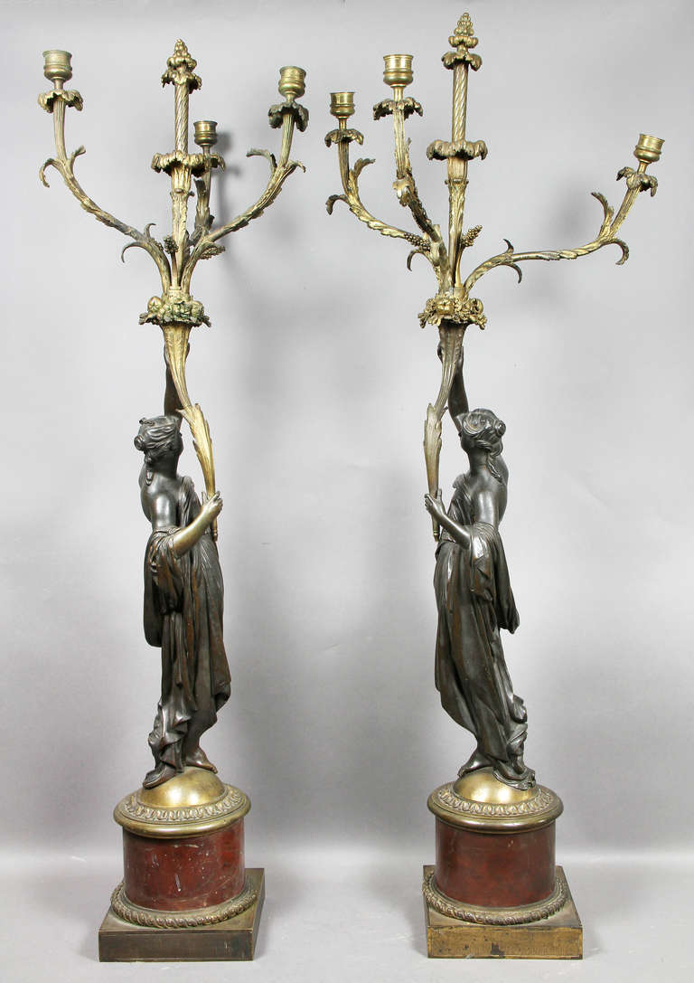 Pair of Louis XVI Bronze and Ormolu Candelabra For Sale 2