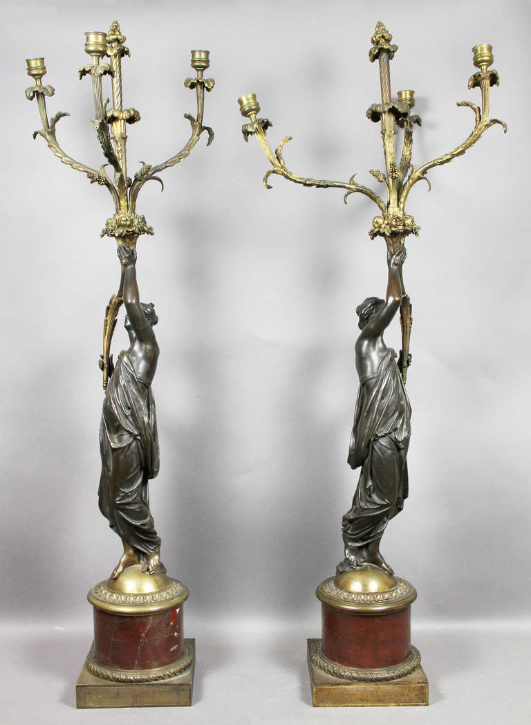 Pair of Louis XVI Bronze and Ormolu Candelabra For Sale 3