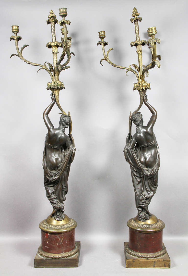 Pair of Louis XVI Bronze and Ormolu Candelabra For Sale 4