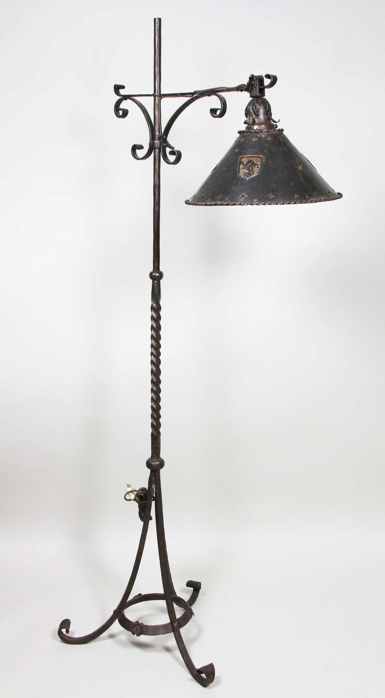 arts and crafts wrought iron floor lamp at 1stdibs. Black Bedroom Furniture Sets. Home Design Ideas