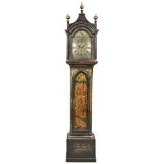 George III Green Japanned Tall Case Clock