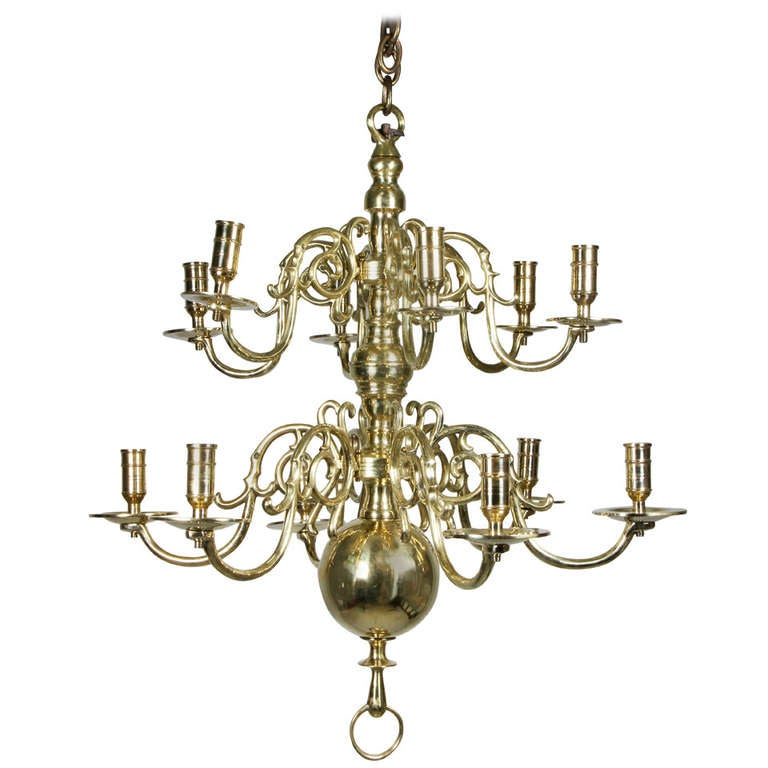 William And Mary Style Brass Twelve Light Chandelier