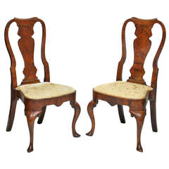 Pair Of Irish Queen Anne Walnut Side Chairs