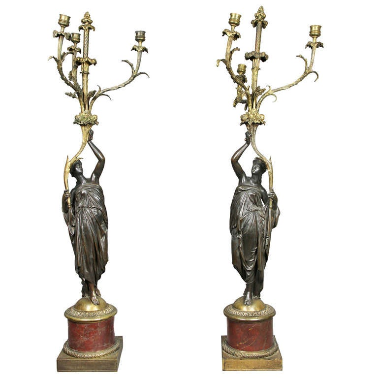 Pair of Louis XVI Bronze and Ormolu Candelabra For Sale