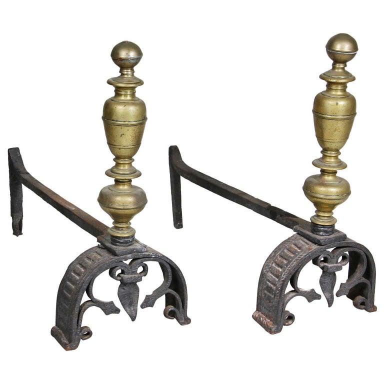 Pair of Italian Baroque Wrought Iron and Bronze Andirons