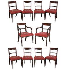 Set of Ten Regency Mahogany and Ebony Inlaid Dining Chairs