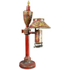 French Empire Red Tole Table Lamp