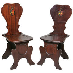 Pair Of Regency Mahogany Armorial Hall Chairs