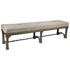 American Lacquered Bronze Hall Bench