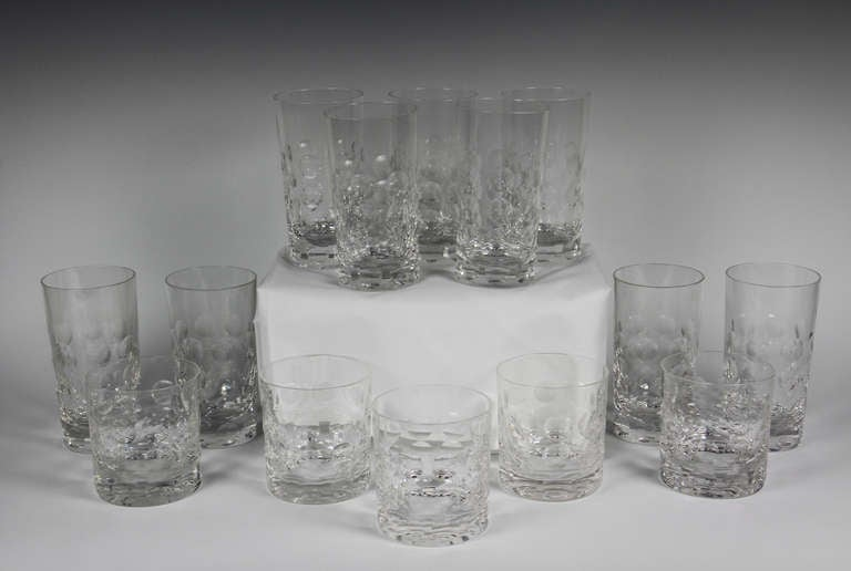 e0052c47deb Set Of Fourteen Glasses By Ward Bennett For Tiffany For Sale. Nine tall and  five short. Nice weight with thumb print pattern. Signed on base