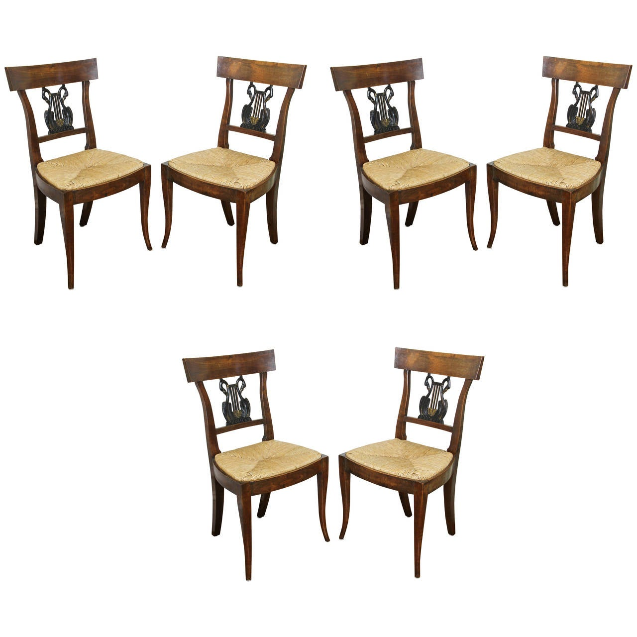 Set of Six Italian Neoclassic Walnut and Ebonized Dining Chairs