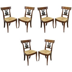 Set of Six Italian Neoclassic Walnut and Ebonized Dining Chairs