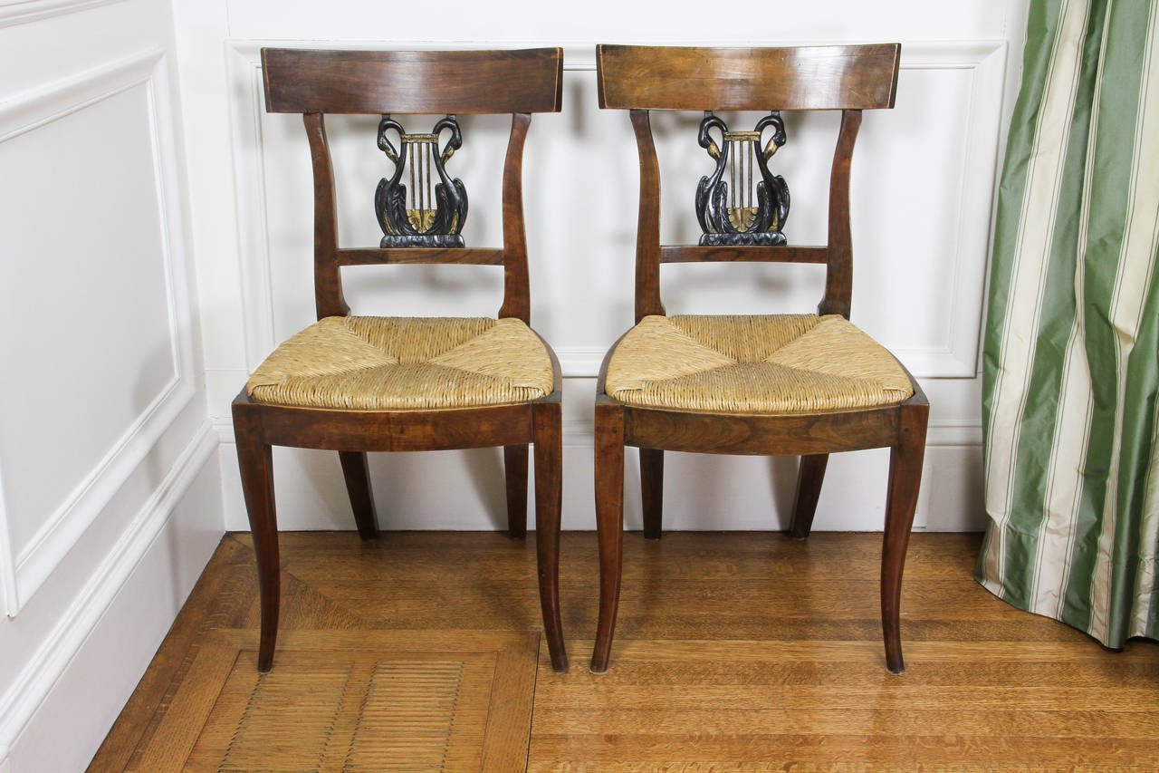 Neoclassical Set of Six Italian Neoclassic Walnut and Ebonized Dining Chairs For Sale
