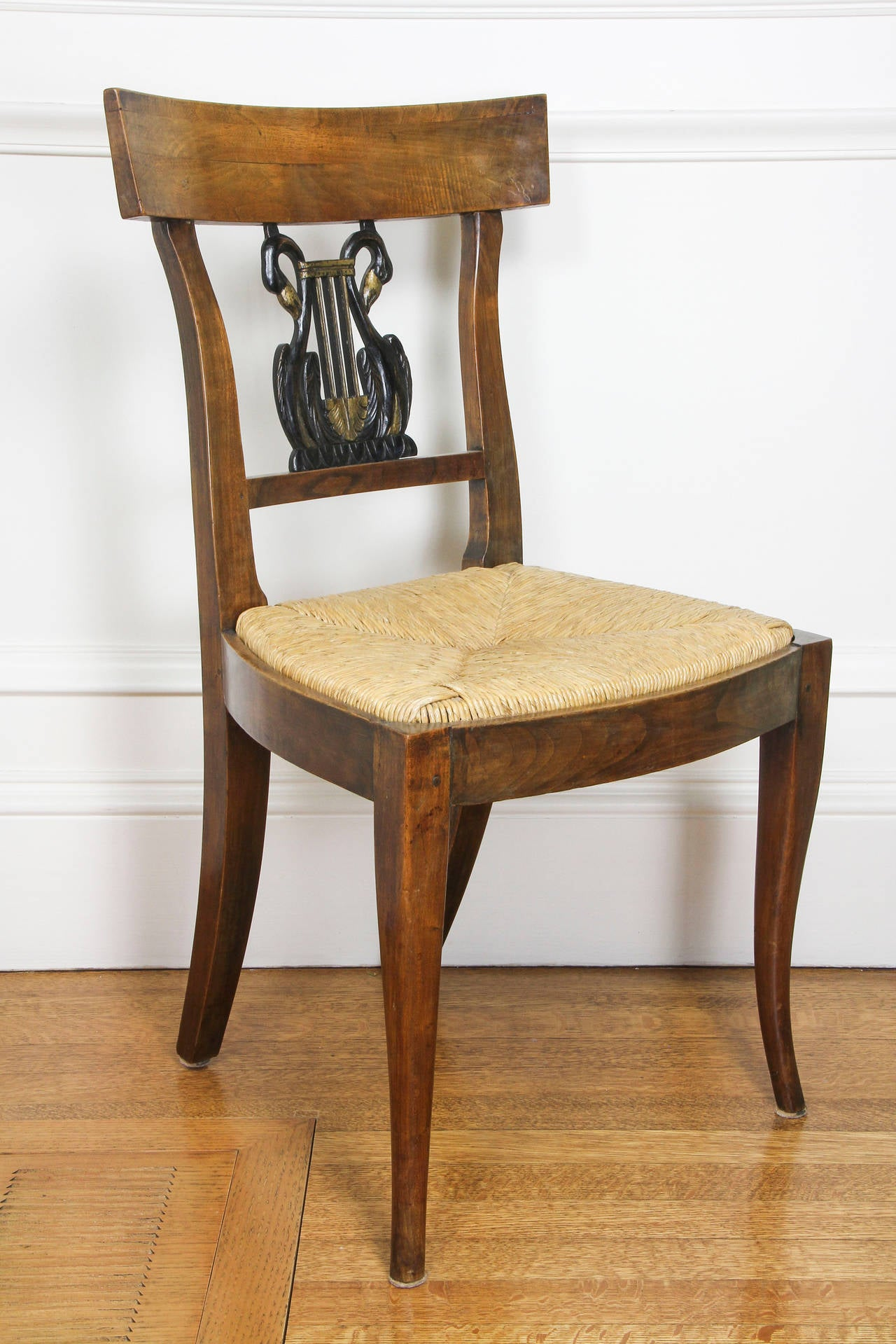 Set of Six Italian Neoclassic Walnut and Ebonized Dining Chairs In Good Condition For Sale In Essex, MA
