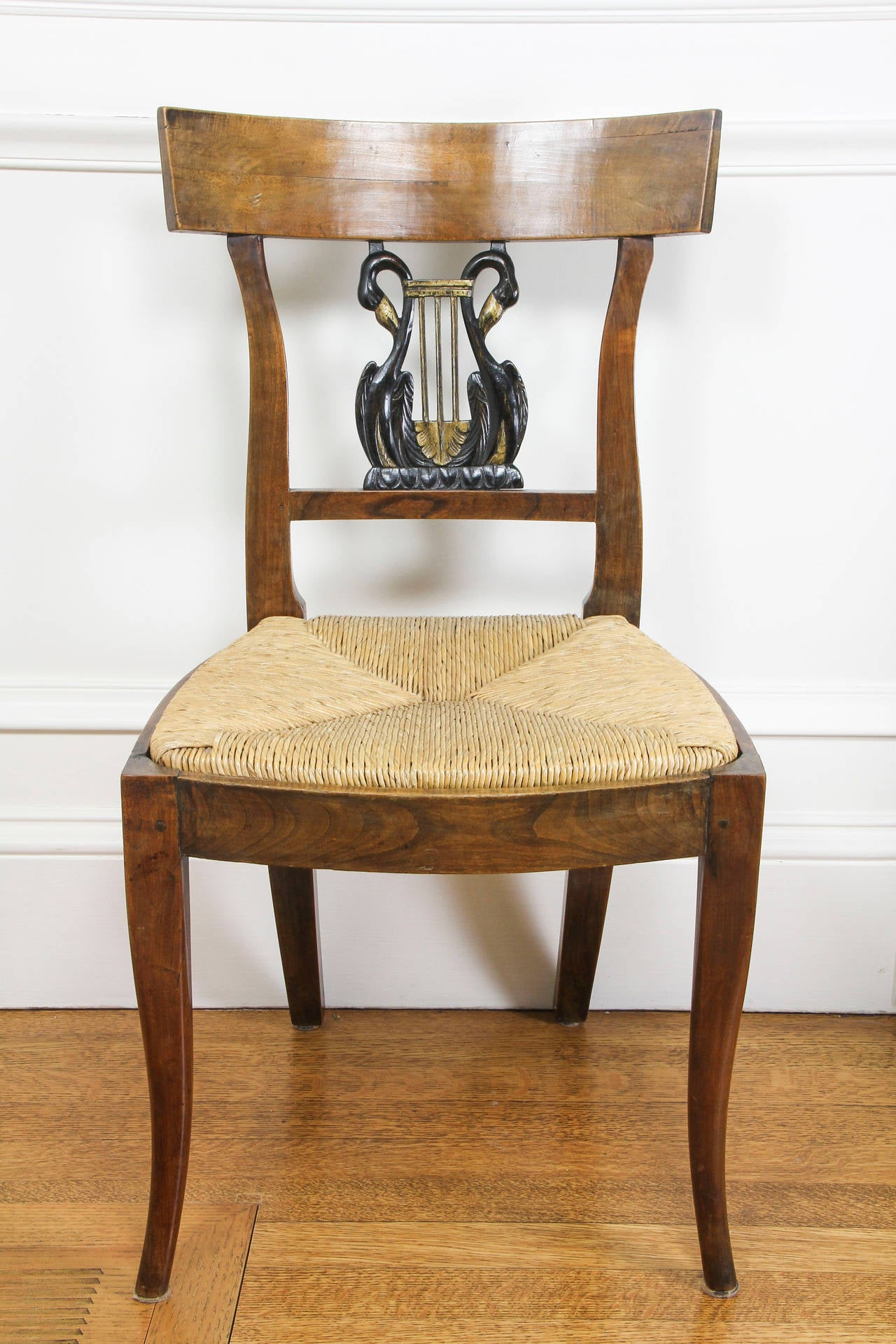 Mid-19th Century Set of Six Italian Neoclassic Walnut and Ebonized Dining Chairs For Sale