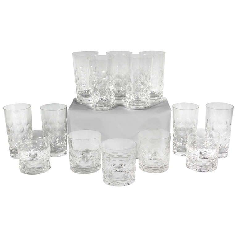 7158fbf24ac Set Of Fourteen Glasses By Ward Bennett For Tiffany at 1stdibs