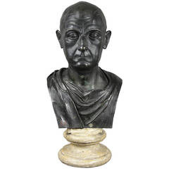 Grand Tour Bronze Bust Of A Roman After The Antique