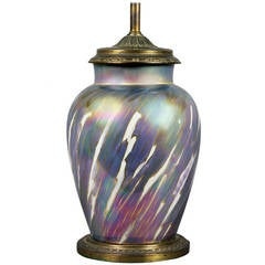 French Art Nouveau Porcelain Table Lamp
