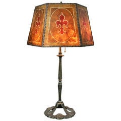 Arts & Crafts Bronze and Mica Shade Table Lamp