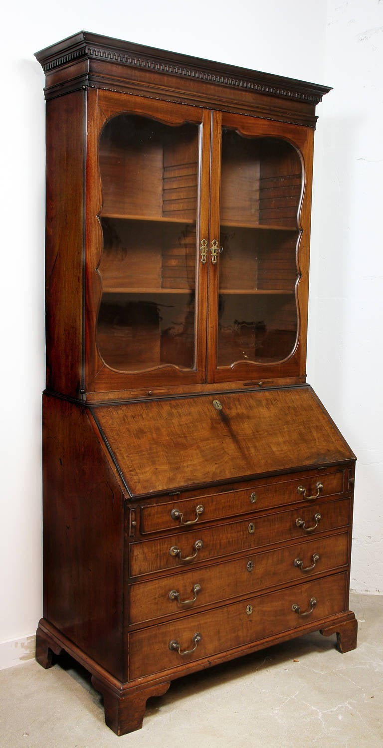 george iii mahogany bureau bookcase for sale at 1stdibs. Black Bedroom Furniture Sets. Home Design Ideas
