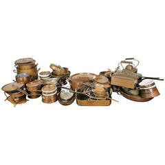 Approximately Thirty Five Copper Pots And Pans