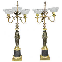 Pair Of Empire Ormolu And Bronze Candelabra