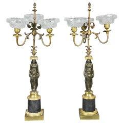 Pair Of Empire Ormolu And Bronze Candelabra