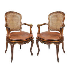 Pair of Louis XV Style Walnut Armchairs