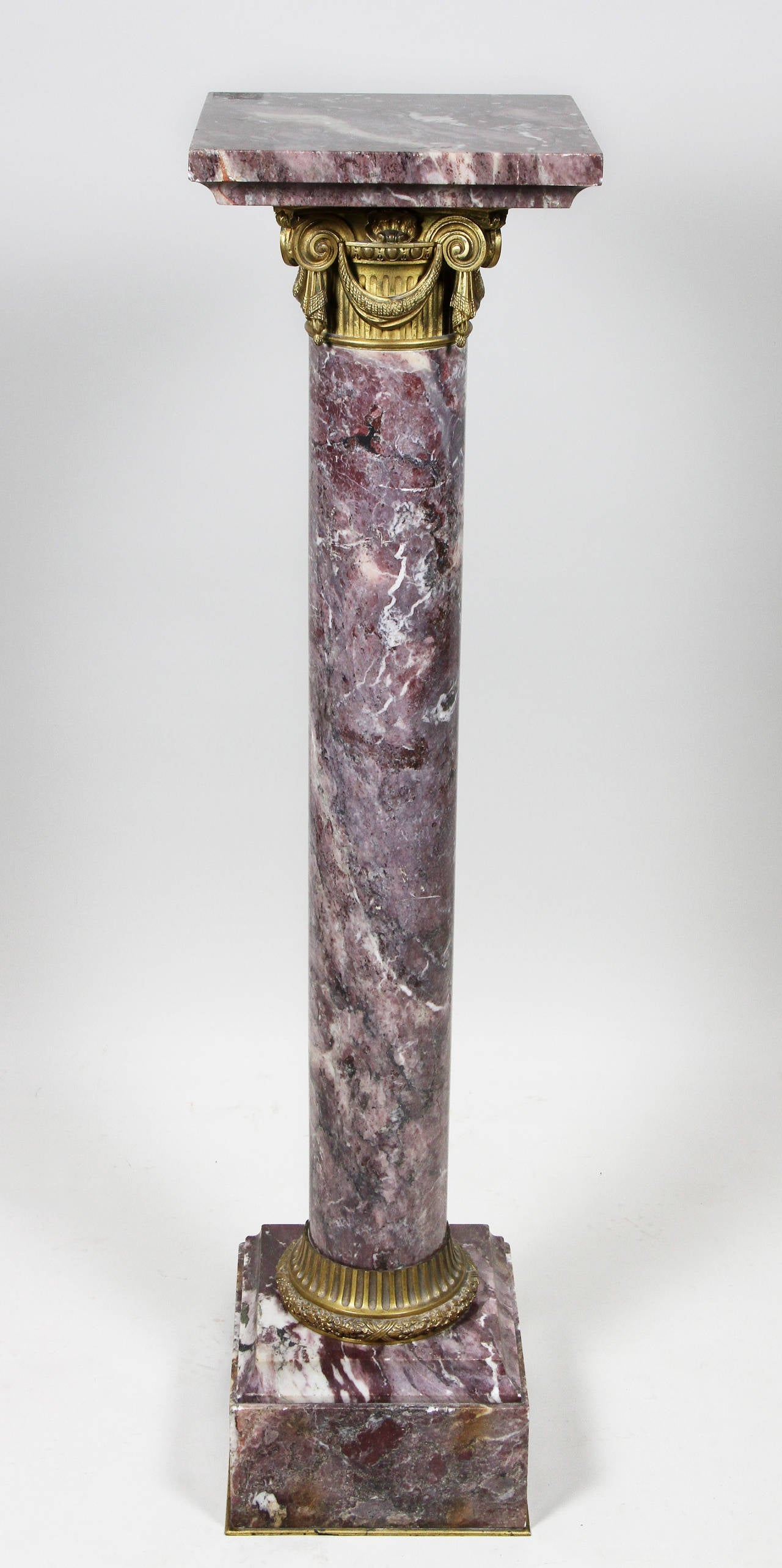 French Breche Violette And Bronze Pedestal For Sale at 1stdibs